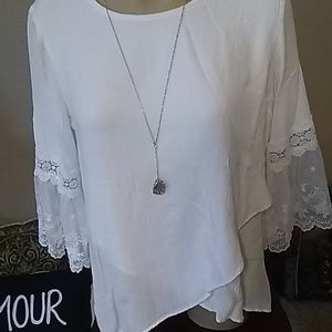 I.N. Studio Tops - 💖🌼Beutiful!/White/Laced, sleeves/Top,sze,xL💖